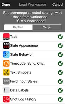 Image: Workspace Download menu from the MovieSlate app