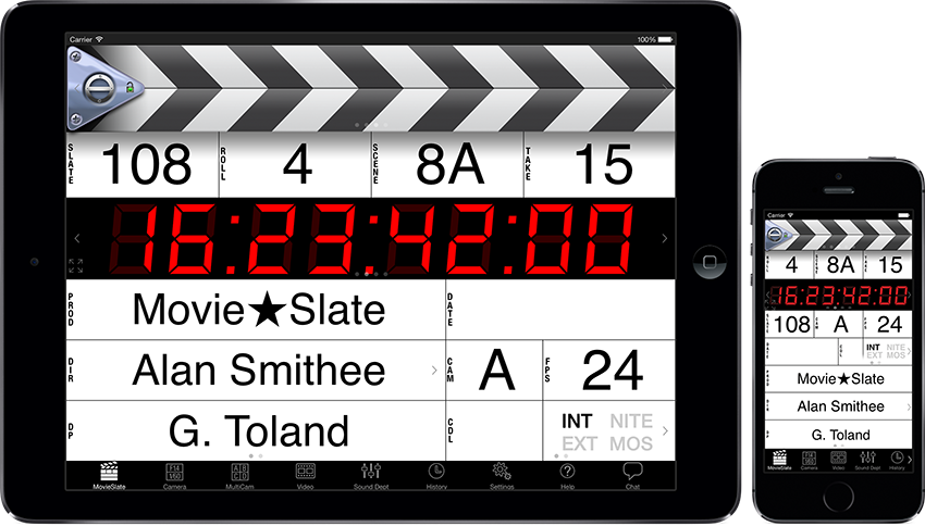 Image: MovieSlate running on Apple iPad and iPhone