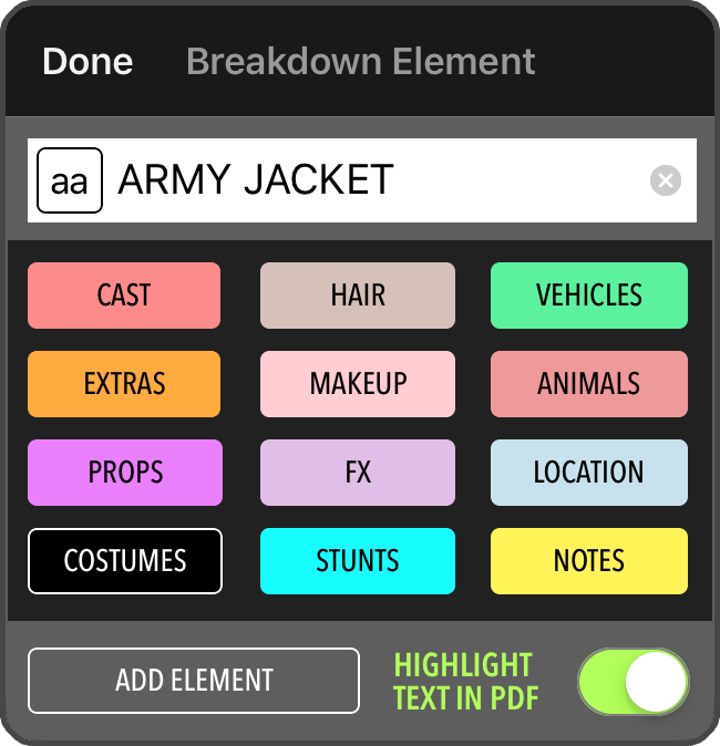 Image: Script Breakdown Element Tool