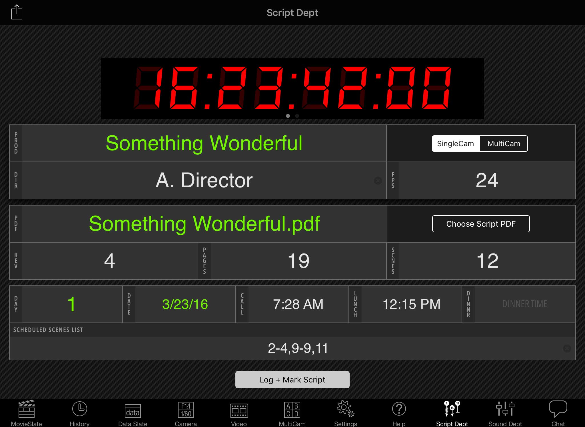 Screenshot: MovieSlate screen