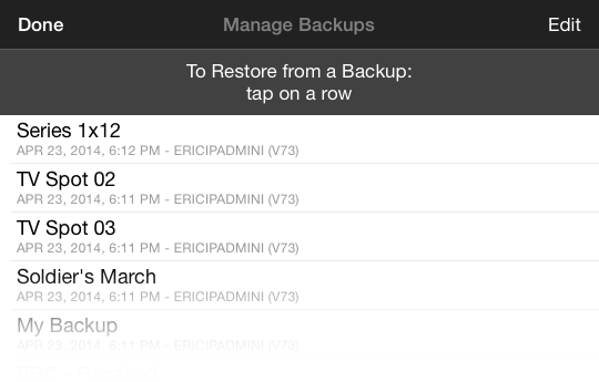Image: MovieSlate Cloud Backup - Choose a backup to Restore