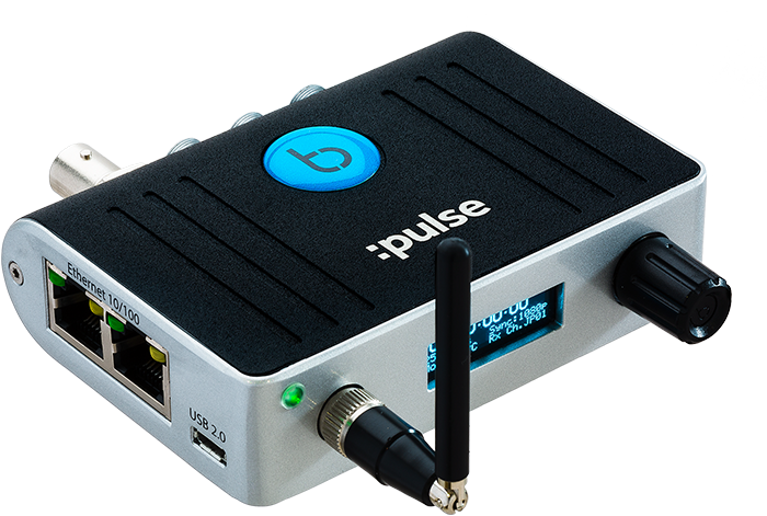Image: Front view of the Timecode Systems :pulse timecode and metadata hub
