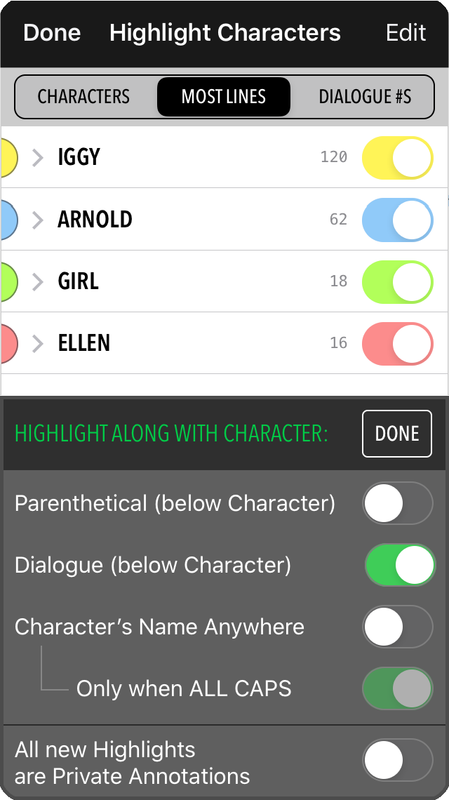 Image: MovieSlate 8 Script Dept Automatic Dialog Highlighting